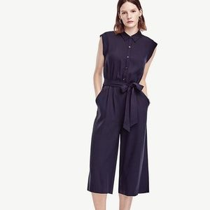 Ann Taylor - Navy Belted Jumpsuit